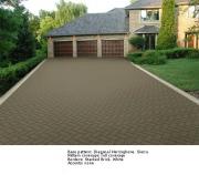 Дизайн асфальта - шаблон Diagonal Herringbone с бордюром белого цвета в форме кирпича (Stacked Brick)